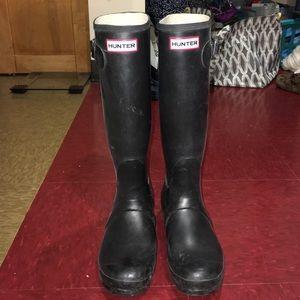 Tall hunter black boots