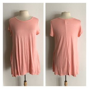 Tops - (Plus) Pink Tunic with pockets