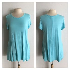 Tops - LAST ONE! (Plus) Sky blue Tunic with pockets