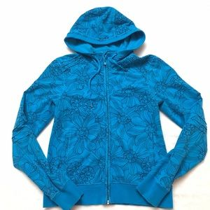 lululemon athletica Tops - LULULEMON Blue Floral Vintage Zip Hoodie