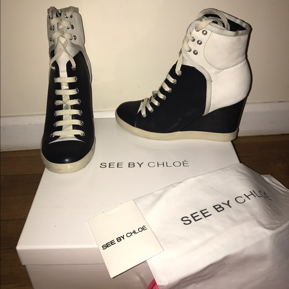 53 off chloe shoes see by chloe sb20146 wedge high top sneakers 38 from 39 s closet on poshmark. Black Bedroom Furniture Sets. Home Design Ideas