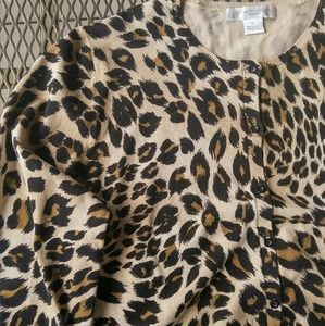 August Silk Sweaters - August Silk Leopard Cardigan Size XL