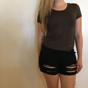 •LAST ONE• Shredded Black Cuffed Denim Shorts