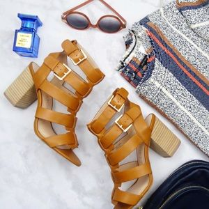 Sole Society Shoes - Cognac Cage Sandals