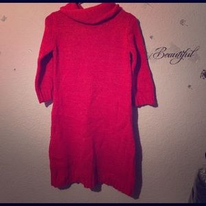 Girls Size 10/12 Red Sweater 3/4 Sleeve Dress G21