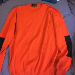 Etro Other - Etro orange sweater - black elbow square patches