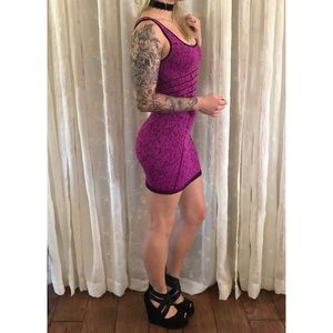 Bebe Magenta + Black Marbled Bodycon Dress