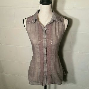 Maurices Tops - Maurices - Gray Sleeveless Button-down Shirt
