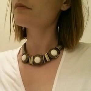 Jewelry - Vintage leather metal art deco choker necklace