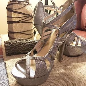 Unlisted Cyrstal-Pewter Strappy Platform Shoes