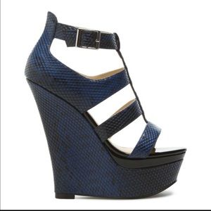 sophia & lee Shoes - Navy Blue snakeskin wedge sandals w/patent leather