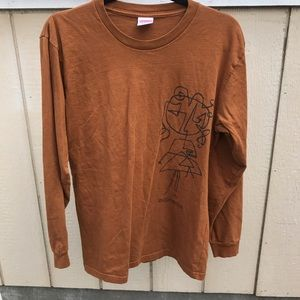 SUPREME SZ M ARTSY STENCIL SHIRT BROWN TOP