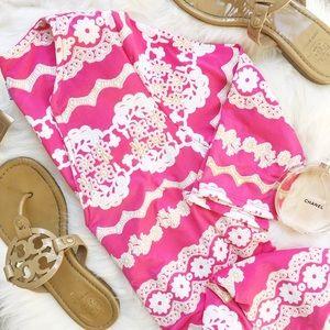Pink Printed Short Sleeve Dress
