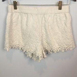 zara trafaluc cream crochet floral shorts