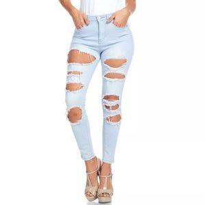 American Bazi Denim - Plus High Waist Skinny Jeans Destroyed Ripped New