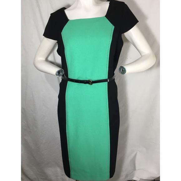 e778ea00 Liz Claiborne Dresses & Skirts - Liz Claiborne Black Green Belted Sheath  Dress 16