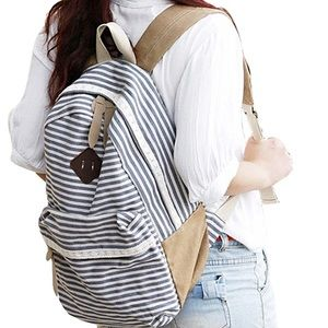 Stripes with Lace Design Backpack