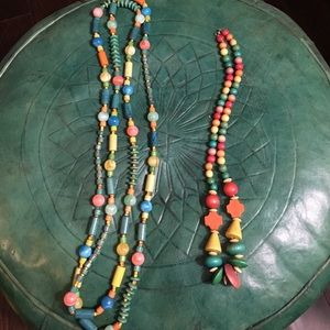 Colorful wooden beaded necklace
