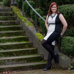 INC International Concepts Dresses & Skirts - Black & White Colorblock Bodycon Dress