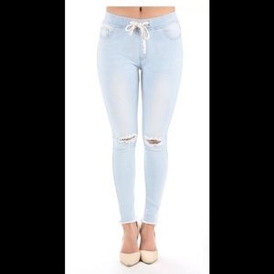 Plus Jeans Jogger Stretch Slit Cut Knee Light New