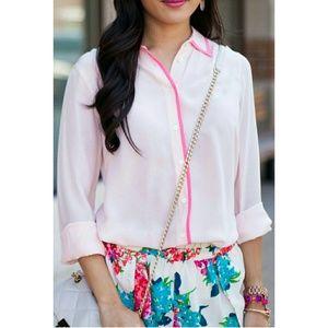 J. Crew pink silk button down shirt