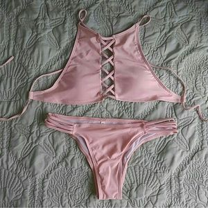 Other - Strappy pink pearl bikini set high neck cheeky