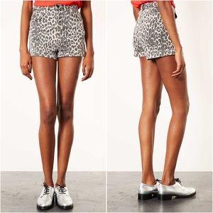 Topshop Pants - Topshop Moto Leopard High Waist Cuff Denim Shorts