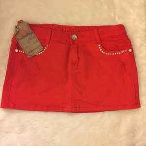 Machine Pour Neuf Mode Dresses & Skirts - Red Denim jeweled distressed mini skirt size med