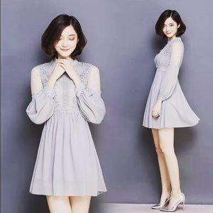 Japanese Weekend Dresses & Skirts - Round Neck With Sleeve Big Chiffon Lace Gray Dress