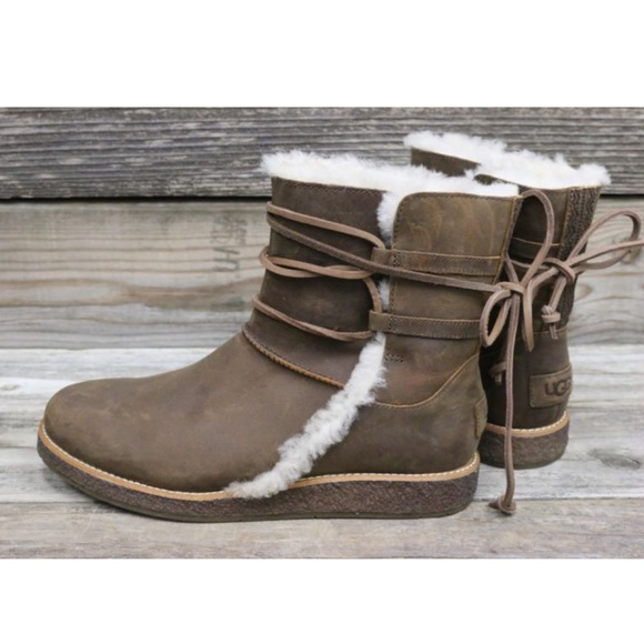 84b5b3393d9 UGG Luisa Chocolate Lace Up Sheepskin Boots NEW! Boutique