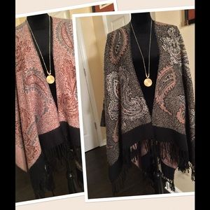 Jackets & Blazers - New Reversible poncho with fringe