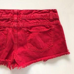 Carmar Pants - [CARMAR] distressed red denim jean shorts 28