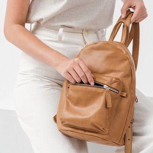 baggu Handbags - The Baggu Leather Backpack in Saddle