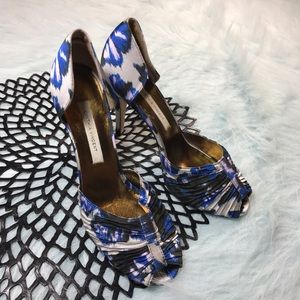 Cynthia Vincent Shoes - Cynthia Vincent Peep Toe Abstract Fabric Heels
