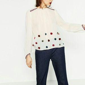 Zara Pom Pom Top M 2903 cream ivory blouse NWT