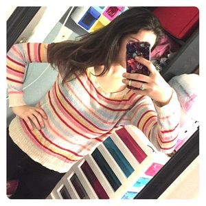 👑 Striped multicolor rainbow sweater knit top