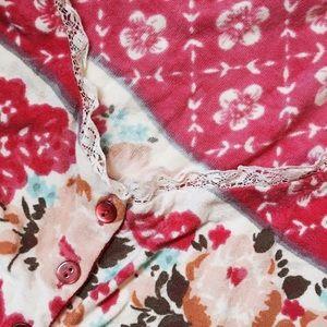 Blumarine Sweaters - Blumarine Lace Trimmed Floral Cardi
