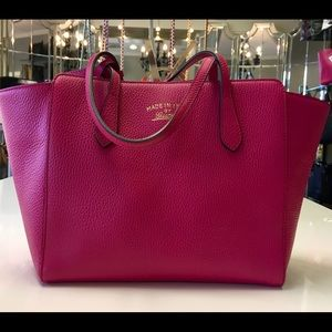 Gucci Handbags - Gucci Swing Leather Shopper Tote Bag Pink Large