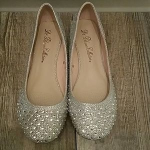 Shoes - Silver crystal ballerina flats
