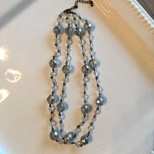 Two Strand Silver Beaded Necklace