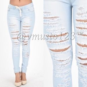 LIGHT WASH DENIM STRETCHY JOGGERS