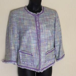 NY Collection Jackets & Blazers - NY Collection Purple Tweed Blazer Jacket Size 1X