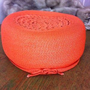 Vintage Accessories - Vintage orange straw pill box hat