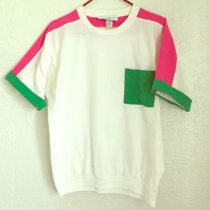 VTG 80's oversized watermelon color-block top