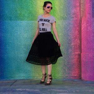 Black Lace Pleated Midi-Skirt