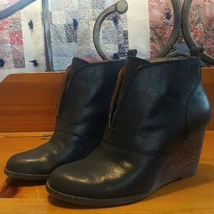 Lucky Brand Black Wedge Booties