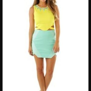 Mustard Seed Dresses & Skirts - Yellow crop top and turquoise skirt
