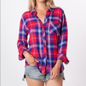 Rails Tops - Rails Button Up Flannel Red White Blue Purple XS