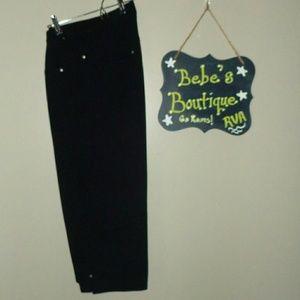 Catherines Pants - Catherine's Knit Jean Capri Black size 1X