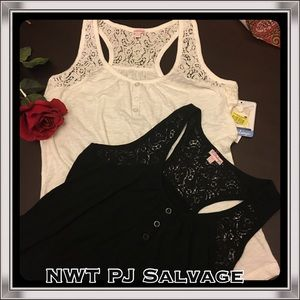 PJ Salvage Tops - NWT TWO PJ Salvage Tanks with Lace. Black & Ecru M